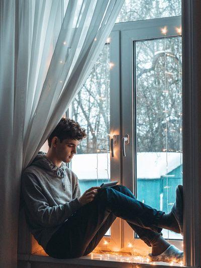 Man and window