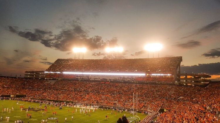 Photo from the Clemson vs. Auburn game. Illuminated Sky Cloud - Sky Glowing Outdoors Football College First Eyeem Photo