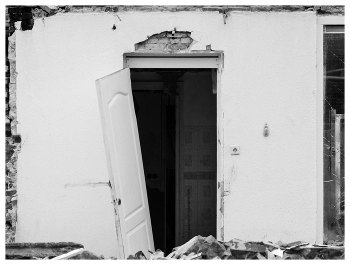 Closed door of building