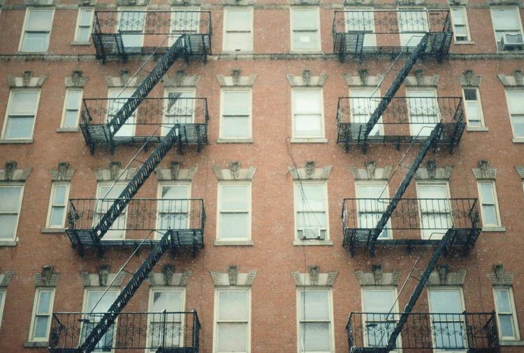 Nikon FE 35mm Film Fire Escape Building Exterior Snow