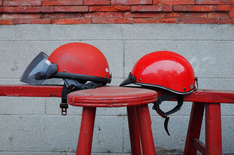 Coincidence. All In Red Brickwall Close-up Coincidence Helmet Iseetaiwan Old Buildings Old House Red Ricoh Gr Street Photographer Streetphotography Taiwan Taiwan Photographer Art Is Everywhere Break The Mold The Street Photographer - 2017 EyeEm Awards EyeEm Ready   Press For Progress
