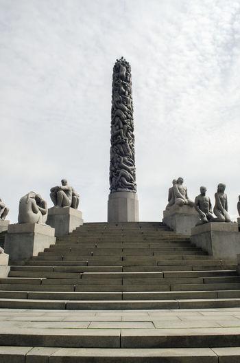 Gustav vigeland sculpture park against cloudy sky