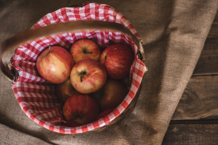 High angle view of apples in bowl on table