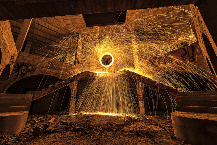 Architecture Built Structure Fire Illuminated Indoors  Long Exposure Motion Night No People Wire Wool