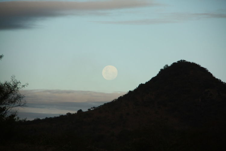 Moon Mountain Sky Beauty In Nature Tranquility No People Silhouette Outdoors