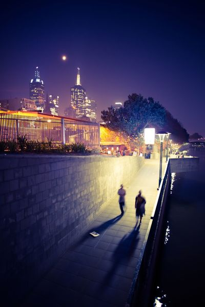 Melbourne at Night Cityscapes City Melbourne River Lights Night Lights Walking Nightlife Shadows Litter