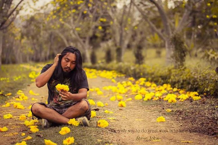 This Is Masculinity Full Length Flower Sitting Musician Yellow Women Eating Autumn Beauty Fruit