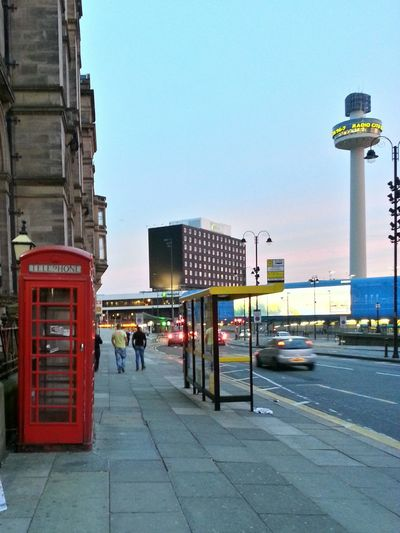 Street in Liverpool, UK, Radiotower Buildings Sunsetlight TOWNSCAPE Streetphotography Oldmeetsnew British Phonebooth