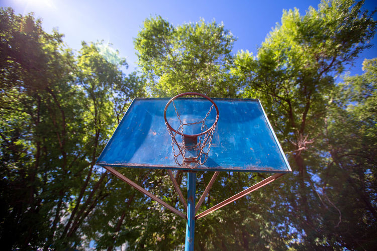 Low Angle View Of Basketball Hoop Against Trees