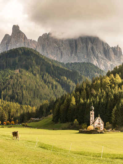 Scenic view of field with church by mountains against sky