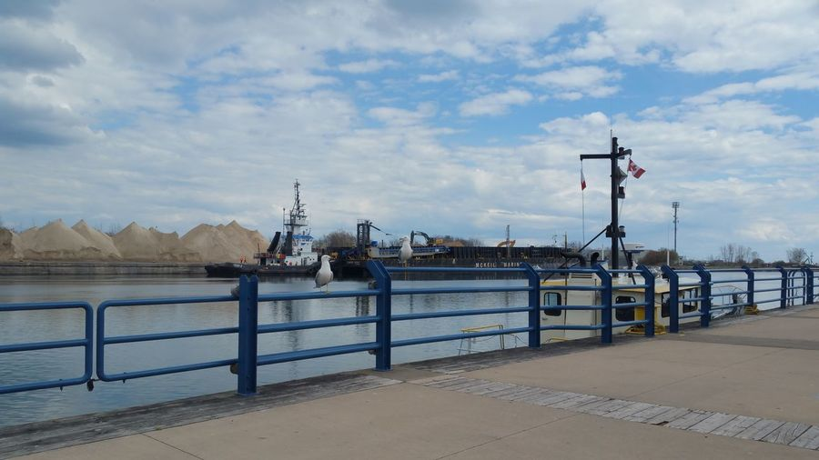 Beautiful Day Port Colborne Canal Seagulls Barge