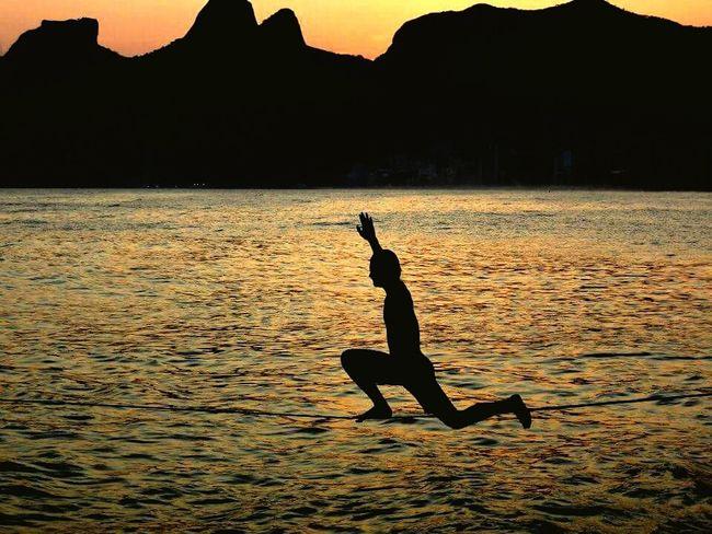 The Moment - 2015 EyeEm Awards Slackline Rio De Janeiro Pedra Do Arpoador Meditation Sunset Check This Out The Amazing Human Body 43 Golden Moments Adventure Club