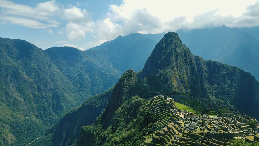 birdeye view of the Machu Picchu First Eyeem Photo Beauty In Nature Peru Machu Picchu La Montaña Hiking Hikingadventures EyeEm Selects Tree Mountain Beauty Rural Scene Terraced Field Forest Agriculture Tree Area Valley Mountain Peak