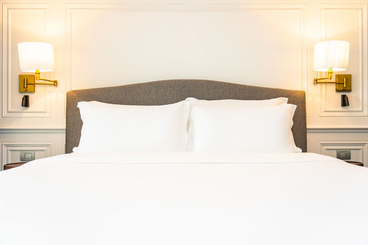 View of white bed in the room