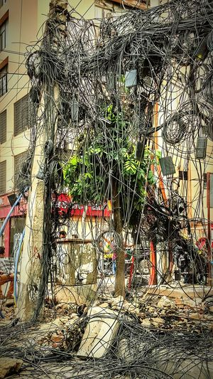 Typical street view in Dhaka these days. Government trying to sort out the jungle of cables. Outdoors Dhaka, Bangladesh Fibre Cables Beautiful View Wellorganised