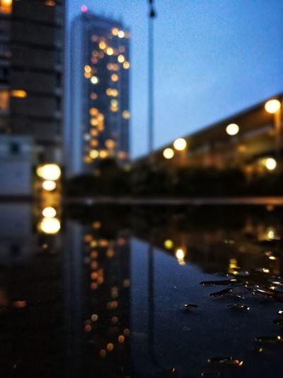 Deux vues de la France sous la pluie des derniers jours. Mirror Reflections Night Lights Nightphotography Illuminated Night Architecture City Reflection Building Exterior Built Structure No People Cityscape Urban Skyline Defocused Outdoors Downtown District