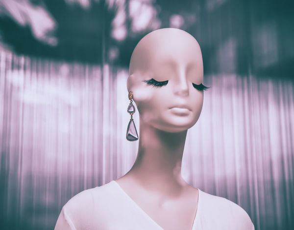 Art And Craft Close-up Consumerism Day Fashion Female Likeness Focus On Foreground For Sale Front View Hairstyle Human Representation Jewelry Mannequin No People Outdoors Purple Representation Retail  Retail Display Shopping Shopwindow Store Store Window Zara