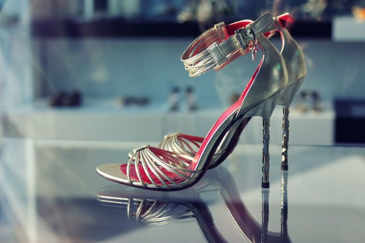 Close-up of high heels on table in store