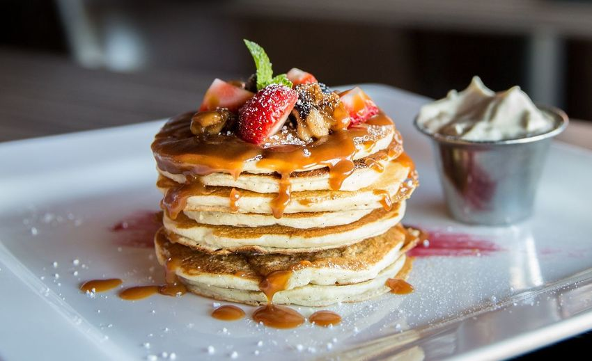 Close-up of pancake in plate