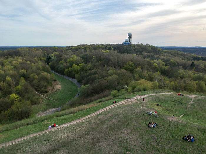Drone  EyeEm Nature Lover EyeEm Team Path Sightseeing Sunday Aerial View Beauty In Nature Built Structure Dronephotography Environment Forest Group Of People Historical Place Incidental People Landscape Pathway Plant Sight Sky Summer Teufelsberg Tower Tree