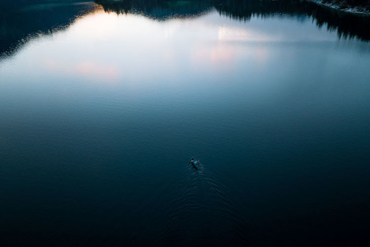 father and son in kayak on Lake Eibsee seen from above out of drone after sunset DJI X Eyeem Eibsee Family German Travel Beauty In Nature Day High Angle View Kayak Lake Landscape Nature Outdoors Scenics Sunset Tranquil Scene Tranquility Water