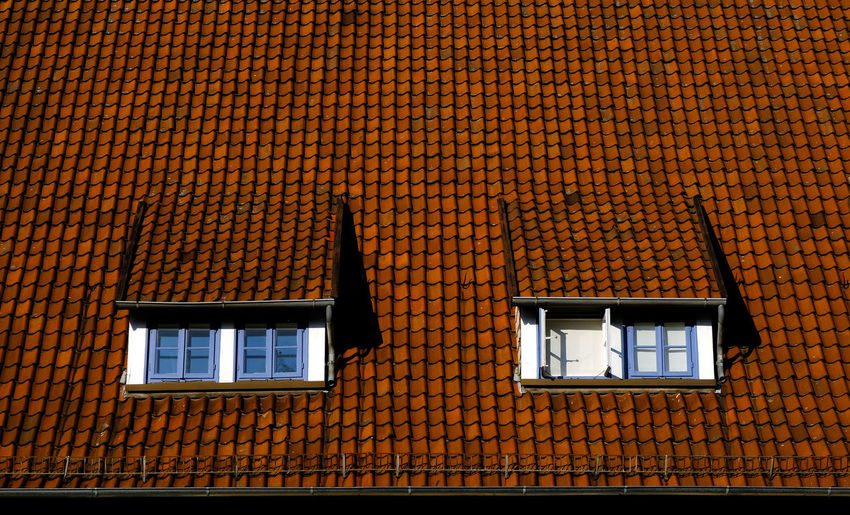 Architecture Building Exterior Built Structure Day Four Windows High Contrast Low Angle View Multi Colored No People Open Window Orange Color Outdoors Roof Tiles Rooftop Stadthagen Window The Architect - 2017 EyeEm Awards