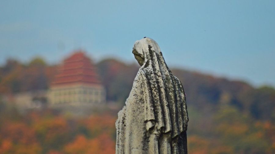 TCPM Focus On Foreground No People Day Close-up Outdoors Autumn Statue Nature Sky EyeEm EyeEm Nature Lover @JeffWoytovich Tranquil Scene Tranquility Catholic Mother Mary Pagoda Reading, PA. Mt. Penn Reading, Pennsylvania Neighborhood Map