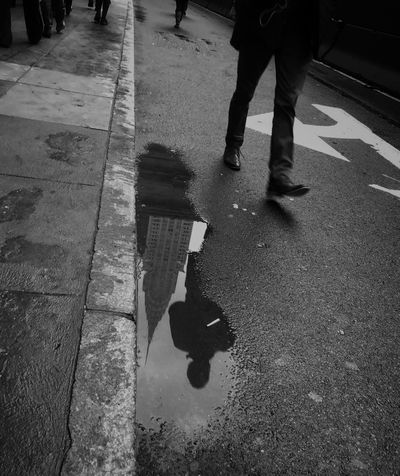 Real People Lifestyles Street Walking Human Leg Two People Low Section Men Outdoors Wet Leisure Activity Puddle Standing Day Togetherness Blackandwhite TheMinimals (less Edit Juxt Photography) Reflection Puddleography