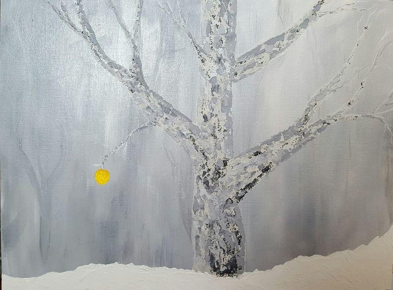 Winter Snow Nature Outdoors Tree Acrylic Paintings Acrylic Painting Nature Apple Beauty In Nature Original Artwork