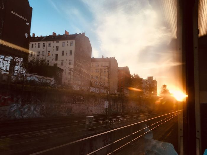 Railroad Track On My Way City Life Berlin Building Exterior Architecture Built Structure Sky Rail Transportation Transportation City Mode Of Transportation Railroad Track Public Transportation Sunlight Train - Vehicle