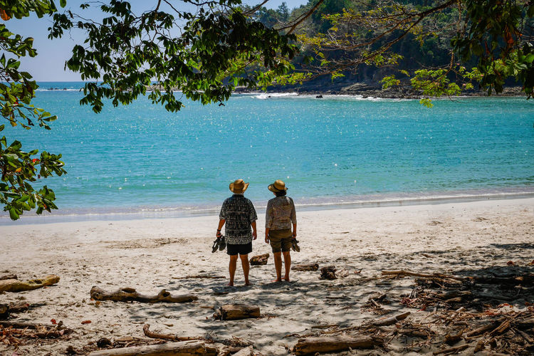 Rear view of couple standing at beach