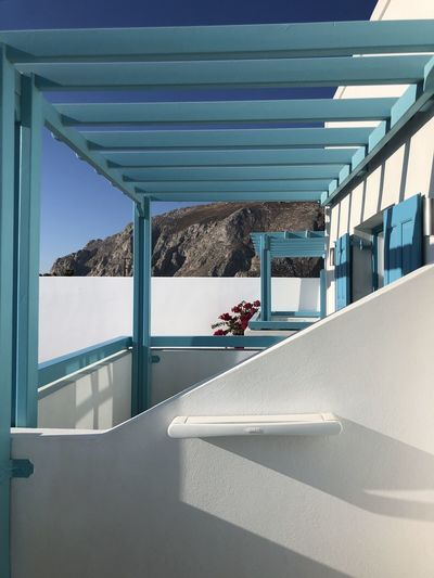 High angle view of swimming pool by sea against sky