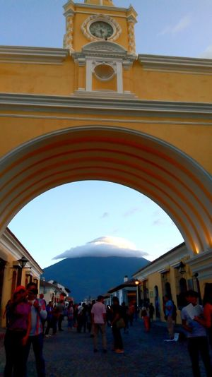 Guatemala Antigua Guatemala Men Arch Women Mountain Architecture Sky Building Exterior Built Structure Historic Natural Arch