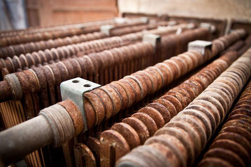 Close-Up Of Rusty Metallic Iron Rods