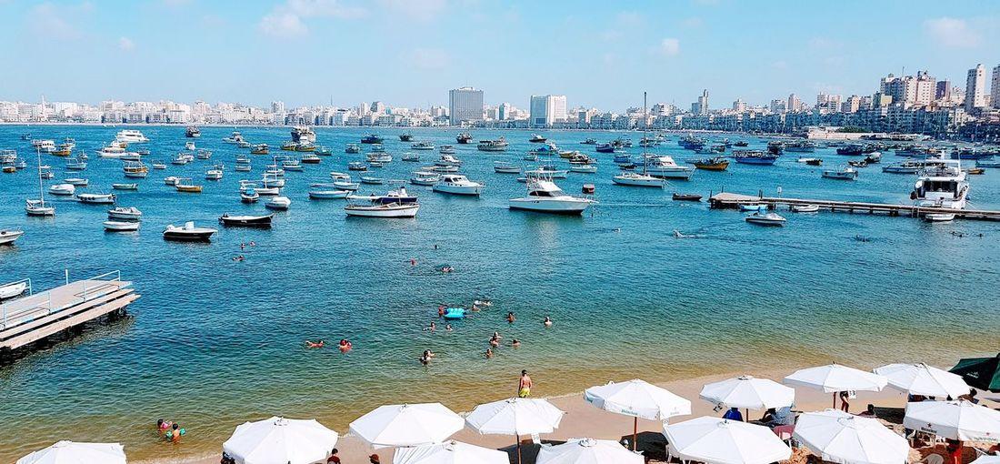 Alexandria city , Egypt City Water Cityscape Nautical Vessel Urban Skyline Sea Skyscraper Beach Harbor Sky