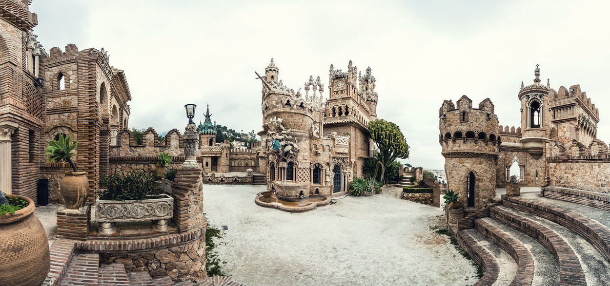 View of Colomares Castle. Castle dedicated to the explorer and navigator Christopher Columbus. Benalmadena town. Province of Malaga. Andalusia. Spain Andalucía Benalmádena, Malaga, Spain Byzantine Architecture Castle Christopher Columbus Cloud - Sky Colomares Castle Costa Del Sol Europe Exterior Gothic Architecture History Landmark Malaga Monument Monumental  Nobody Outdoors Palace Panorama Roman Architecture Sightseeing SPAIN Stone Travel Destinations