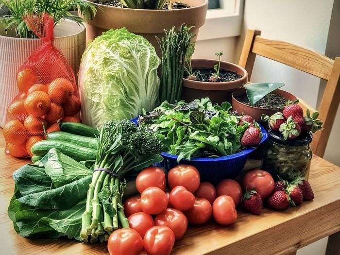 Vegetables and fruits in container