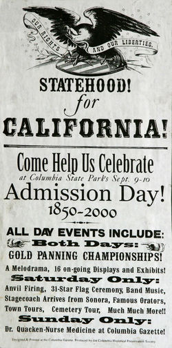 California Here I Come California Poster Statehood For California USA Close-up Day Event Poster Information Medium Law News Event Newspaper No People Paper Text War