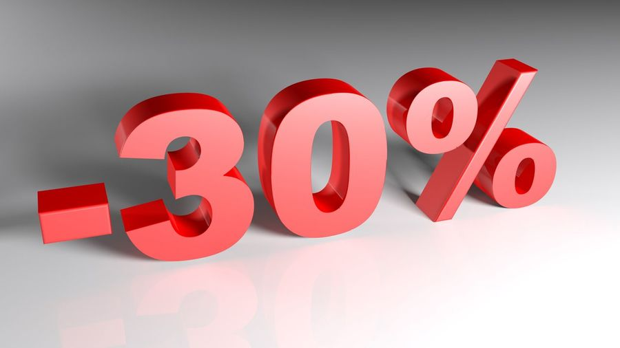 -30% written with red 3D letters standing on a white surface - 3D rendering illustration 30% 3d Rendering Convenience Icon Percentage Red Sale Shopping Sign Advertisement Buy Communication Convenient Discount Illustration Marketing Shop Symbol Symbols