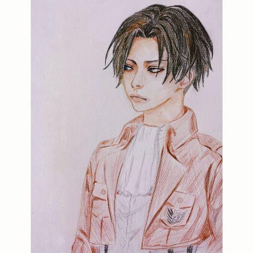 兵長♡♡♡♡ Mangadrawing Painting Drawing Colourpencils Attckontitan Levi 兵長 Doodle Sketch Anime