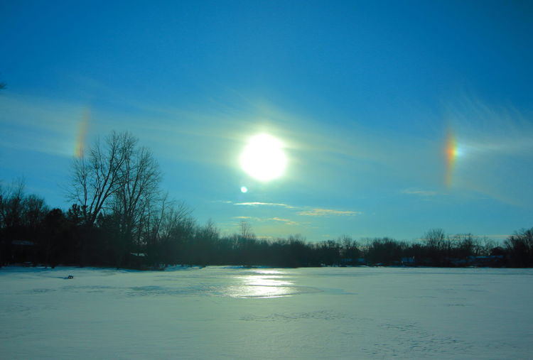 Sun dogs in the sky. Halo Solar Sun Dogs In The Sky Beauty In Nature Cold Temperature Frozen Landscape Nature No People Outdoors Scenics Sky Snow Sun Dogs Tranquil Scene Tranquility Tree Winter Shades Of Winter