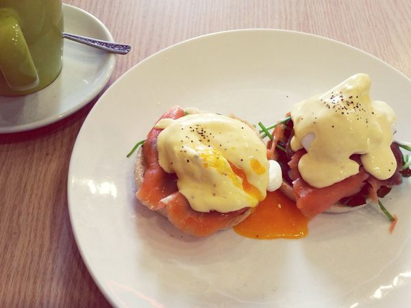I'm not great at food pics. I stray from it. Food Porn Eggs Benedict Runny Egg Auckland City SalmonLove Tuesday Orange Color Food Mobile Photography