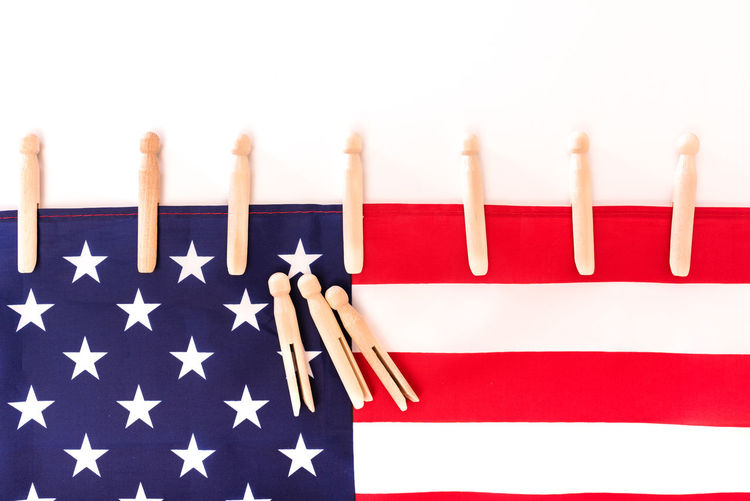 Close-up of flags against white background