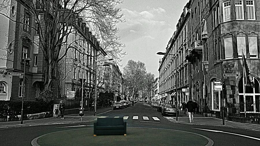 Tunnel Vision 😀 I swear, when I shot this picture, I didn't notice the couch!? I only had eyes for the Beautiful Street Frankfurt Am Main Street Art Street Life Look Very Closely: this is not a b+w foto!!! Black And White Photography Couchsurfing Couchlife Couch On The Road Roundabout Traffic Residential District House Facade Beautiful Houses Showcase March Here Belongs To Me Home Is Where The Art Is