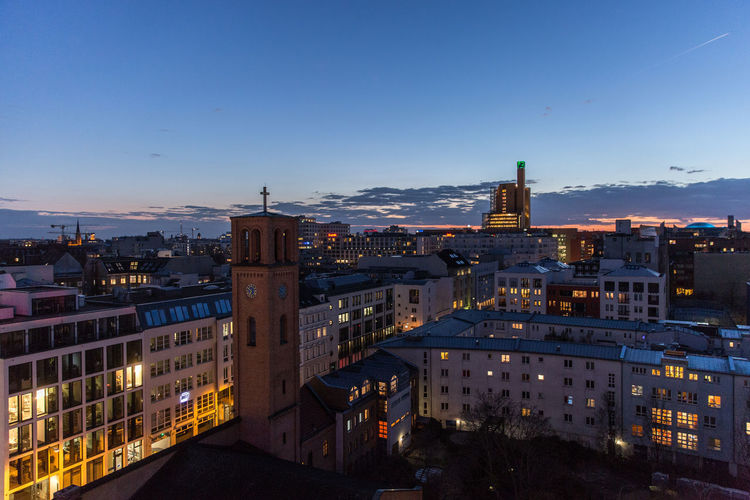 2019 Kreuzberg Nacht Kirche Church Night City Illuminated Sky Building Architecture Street City Life Office Building Exterior No People Cityscape Built Structure High Angle View Blue Outdoors Himmel Abendstimmung