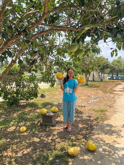 Full length portrait of woman holding fruits while standing by tree