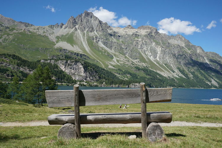 behind a bench Bench Panorama Landscape Mountains Engadina Engadine Switzerland Switzerland Alps Engadin Summer Sky  Nofilter Noedit Sony A6000 Landscapes Landschaft Bergen Alps Alpen Lake Lake View Nature Beauty In Nature Summer Views Colour Of Life
