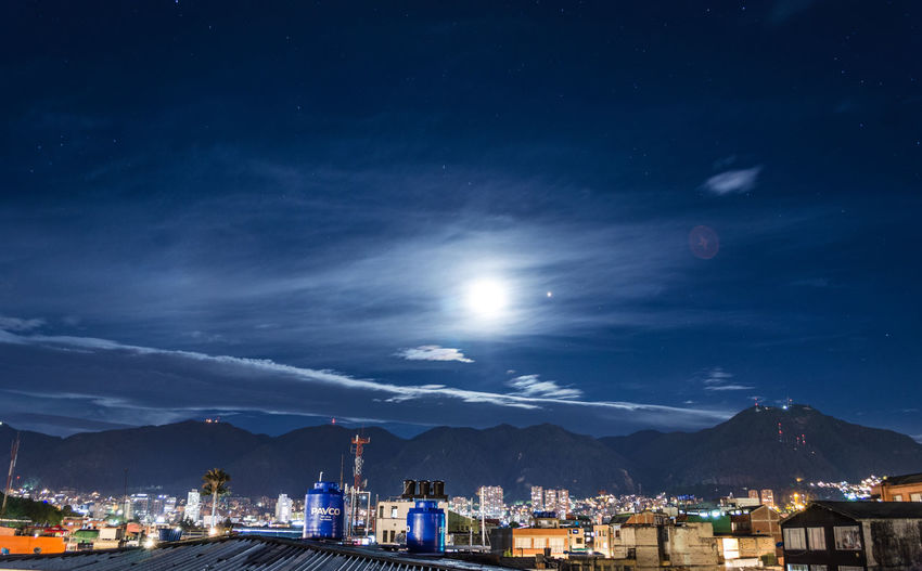 vista cerros orientales Architecture Beauty In Nature Building Building Exterior Built Structure City Cityscape Cloud - Sky Illuminated Moon Moonlight Mountain Mountain Range Nature Night No People Outdoors Scenics - Nature Sky Star - Space Water