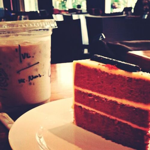 latte and slice of red velvet are perfectly match Relaxing Coffeeshop Myfavoriteplaces