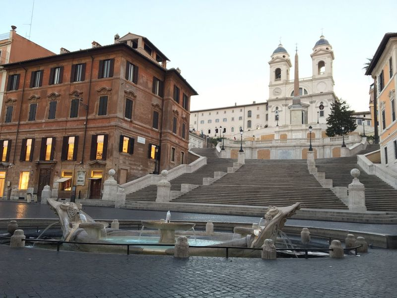 Early Morning Architecture Building Exterior Spanish Steps Empty Places Piazza Di Spagna Empty Square Monuments Monument Built Structure Clear Sky Outdoors No People City